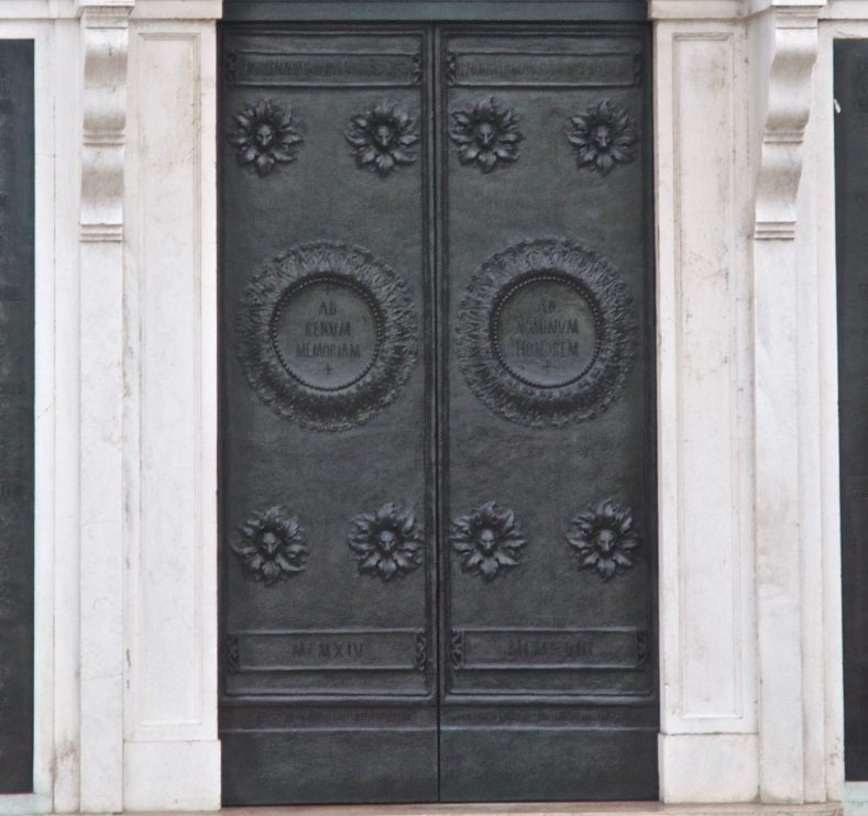Bronze doors, designed by Napoleone Martinuzzi, 1926, following conservation in 2015