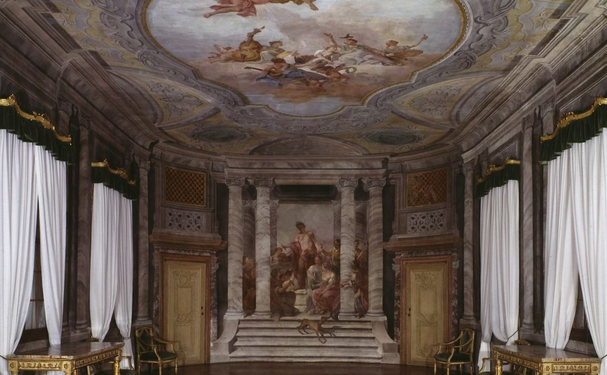 he Music Room, with architectural frescoes by A Mengozzi Colonna and the concert scene on the end wall by J. Guarana, 1776-7.