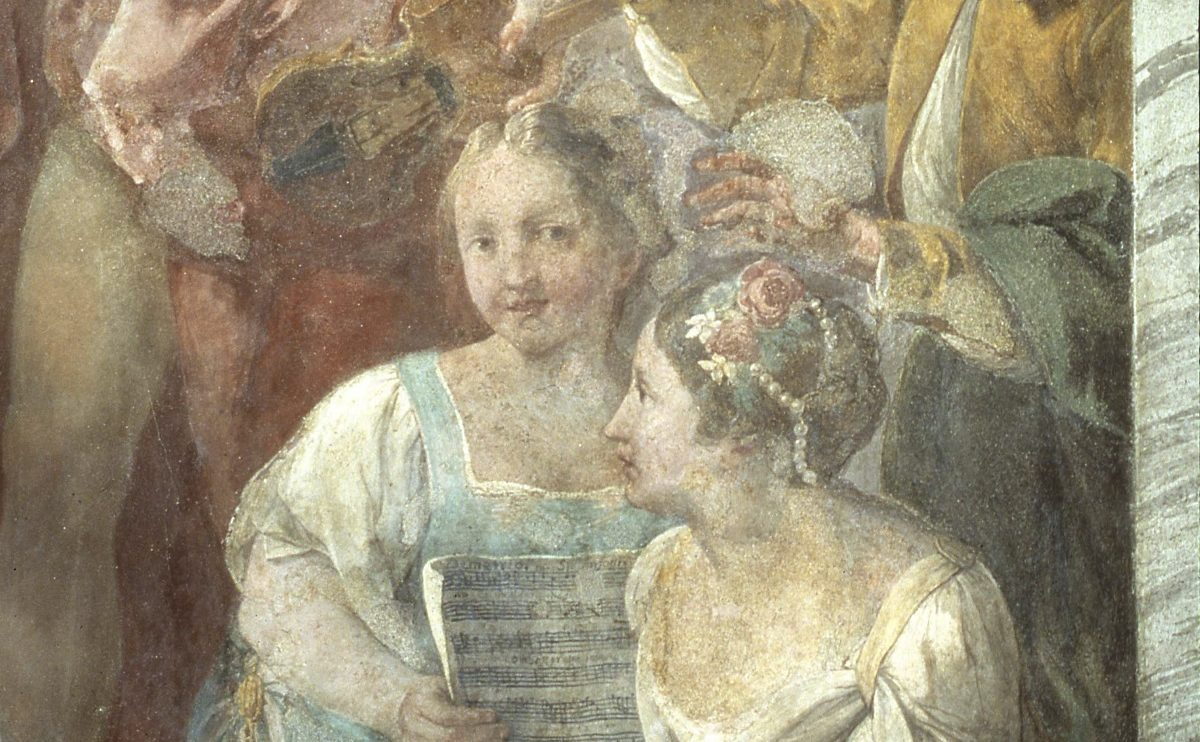 Detail of Concert Scene by Jacopo Guarana, 1776-77.  The musical score contains a message for the audience